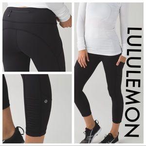 """Lululemon """"speed crop"""" leggings black 8 pants +bag"""